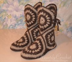 Your place to buy and sell all things handmade Crochet Sole, Crochet Boots Pattern, Crochet Slipper Boots, Knitted Slippers, Wool Socks, Crochet Motif, Knitting Socks, Hand Knitting, Crochet Patterns