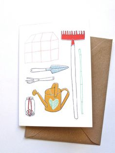 Card  Gardening tools by kimslittlemonsters on Etsy, €2.95