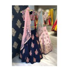Gorgeous royal blue color lehenga and blouse with blush pink color net dupatta. Blush pink color lehenga and blouse with ice blue color net dupatta. Lehenga and blouse with hand embroidery work all over. Latest additions to our Spring/Summer 2018 collection . Available at Mrunalini Rao studio in Hyderabad and also at all our retail stores across the country. 22 May 2018