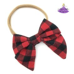 """A sweet little addition to your baby girl's wardrobe for your winter pictures. Perfect baby shower or Christmas gift. Tightly woven, premium cotton bow, measures 3"""" wide. Soft Baby Buffalo, Buffalo Plaid, Kids Boutique, Boutique Bows, Baby Bows, Baby Headbands, Christmas Hair Bows, Christmas Accessories, Baby Monogram"""