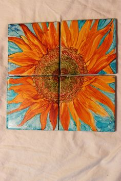tile coasters. Alcohol ink on ceramic tile coasters. Sunflowers. Painted sunflowers on coasters.