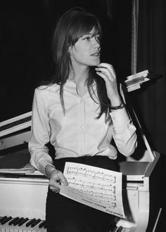 Francoise Hardy recording a song, 1967.