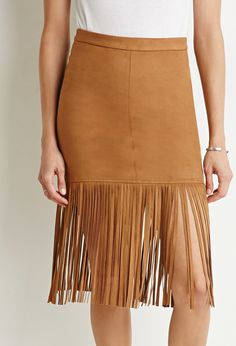 Fringed Faux Suede Skirt - $24.90