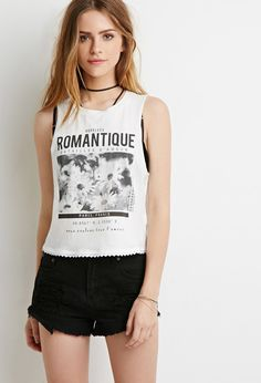 Crochet-Trimmed Romantique Graphic Tank