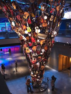 A funnel of guitars at the Experience Music Project in Seattle, WA. Music Ed, Sound Of Music, Art Music, Music Is Life, Music Stuff, Famous Buildings, Amazing Buildings, Rock N Roll, Ghost Raider