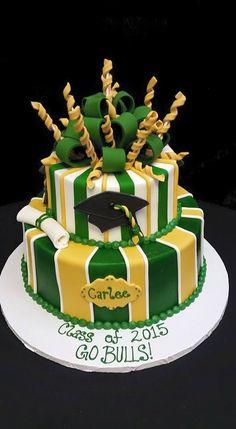 Cookie Jar Bakeshop I Custom Cakes I USF Graduation Cake I Green & Yellow Graduation Cake with Cap & Tassel
