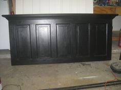 Vintage Headboards, I primarily make headboards out of old doors and new doors, Vintage Headboard made using a 90 year old 5 panel door.  This headboard is designed to fit a king size bed and hang on the wall.  Finished in satin black, Home Decor Project