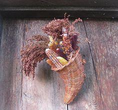 INDIAN CORN CORNuCOPIA  hanging Thanksgiving  WREATH  ALTeRNaTIVE decoration via Etsy