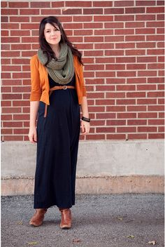 autumn style - i love the top half of this outfit... not so much the brown boots with the black dress, tho.