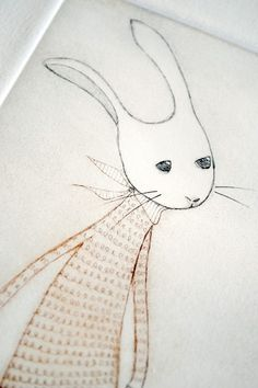Snow Rabbit No. 2, Drypoint by minu