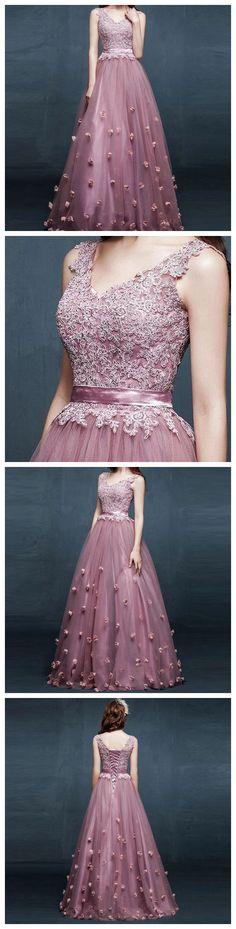 A-LINE V-NECK TULLE APPLIQUES PROM DRESS/EVENING DRESSES