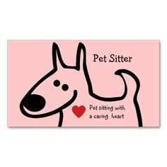 Cute pet sitting business cards with colorful fun design that includes a cute dog, red heart shape, and text layout you can customize now. Best business cards for a pet sitter, pet care service, veterinarian, or pet day care.