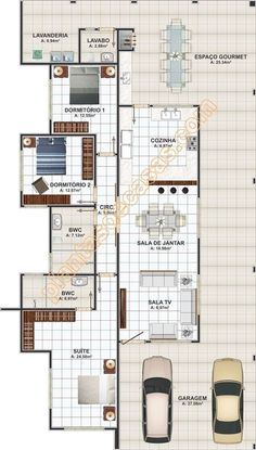Modern One Storey House Plan With Three Bedrooms And Lanai - House And Decors Beach House Plans, House Floor Plans, Home Design Plans, Plan Design, Building Plans, Building A House, One Storey House, Three Bedroom House Plan, Brick Paneling