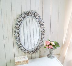 Gray and Gold Rose Mirror, Vintage Oval Mirror with Roses, Rustic Gray Nursery Mirror French Cottage Decor, Shabby Chic Cottage, Nursery Mirror, Nursery Decor, French Farmhouse, Rustic Farmhouse, Grey And Gold, Gray, Oval Mirror