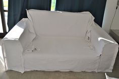 Bean Bag Chairs For Adults Furniture Update, Furniture Covers, Furniture Makeover, Diy Furniture, Diy Sofa Cover, Couch Covers, Drop Cloth Slipcover, Slipcovers For Chairs, Reupholster Furniture