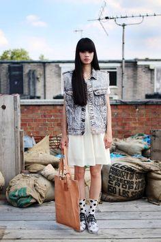 Oversized denim jacket with dress and polka dot socks x x Denim Jacket With Dress, Oversized Denim Jacket, Polka Dot Socks, Asian Street Style, Sheer Dress, Vintage Denim, Asian Fashion, Fashion Details, Dress To Impress