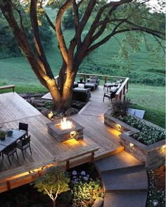 This gorgeous outdoor space by  Kansas City Concrete is great inspiration for our transition of OUR deck to get it ready for entertaining in cooer weather