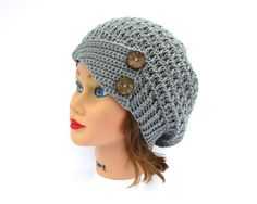 Silver Gray Cloche - Crochet Hat With Buttons - Women's Hat - 1920s Cloche Hat - Slouchy Beanie - Crochet Accessories by BettyMarieJones on Etsy