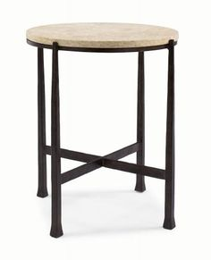 418-123S 418-123 Duncan Round Metal Side Table | Bernhardt Dia 21.5 H 24 Saltillo Travertine Top $862.50 #2Foot