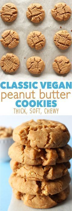 The best VEGAN peanut butter cookies ever! Super thick, soft, and packed full of PB flavour!