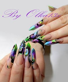 I love these 'Edge' nails.the design is Fresh too! Crazy Nail Art, Crazy Nails, Glam Nails, Stiletto Nails, Gothic Nails, One Stroke Nails, Edge Nails, Nailart, Nails Only
