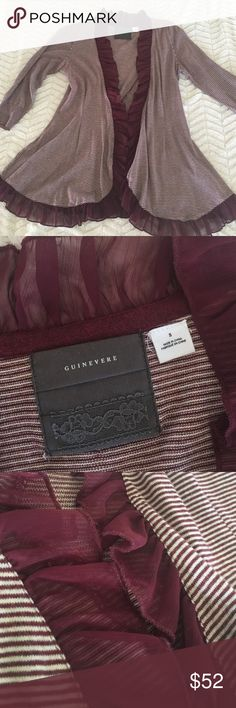 Anthropologie sweater maroon color Anthropologie Guinevere sweater. Size small. Beautiful lightweight sweater with a super soft feel. Detailed ruffles lining the front with more intricate ruffled detail on back. Long sleeve. Anthropologie Sweaters Shrugs & Ponchos