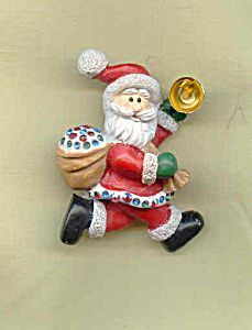 Rhinestone Santa  with  Bag Christmas Pin Brooch. Click the image for more information.: