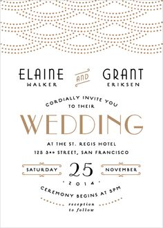 I love art deco and the as well.so nicely done! 'Gold Glamour' wedding invite by Hooray Creative for Minted's letterpress challenge Black Wedding Invitations, Letterpress Wedding Invitations, Gold Wedding Invitations, Wedding Invitation Design, Wedding Stationary, Wedding Cards, Art Deco Wedding Invitations, Glamorous Wedding, Wedding Gold
