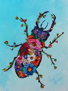 Botanical Beetle - Mixed Media Collage by Lisa Morales Paper Collage Art, Collage Art Mixed Media, Paper Art, Painting Collage, Painting Abstract, Acrylic Paintings, Fabric Painting, Fabric Art, Bug Art