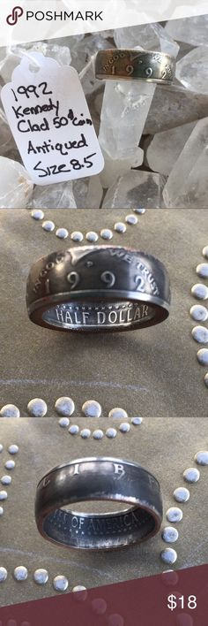 """1992 Half Dollar Coin Ring ⭐️⭐️⭐️⭐️⭐️⭐️1992 Clad Kennedy Half Dollar. Antiqued. size 8.5. Across the outside, can read the word """"LIBERTY"""", flip it around and read """"IN GOD WE TRUST"""" & 1992. Pattern pretty cool then on the interior, you see stars and word """"HALF DOLLAR"""", flip it around and see stars and """"UNITED STATES OF AMERICA"""".⭐️⭐️⭐️⭐️⭐️⭐️ Accessories Jewelry"""