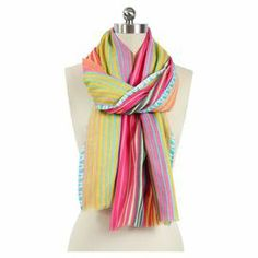 """Bring eye-catching style to your favorite ensembles with this chic wool scarf, showcasing multicolor striping.    Product: ScarfConstruction Material: 100% WoolColor: MultiDimensions: 28"""" x 78""""Cleaning and Care: Dry clean only"""