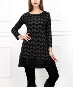 Love this Black & Charcoal Leaf Ruffle Tunic on #zulily! #zulilyfinds