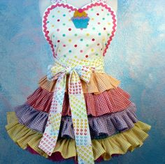 CandyLand Cupcake Ruffle Apron Made to Order by dotsdiner on Etsy
