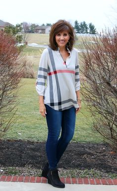 Before I left Kentucky, it was cold and windy and I quickly styled this cute plaid top for casual Friday fashion. This is a comfy top and will be perfect when the weather warms up a bit.