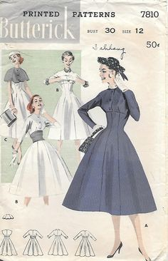 Butterick 7810 1950s High Waisted Princess Seamed Dress with