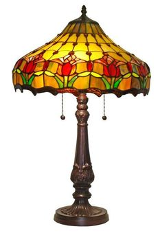 Amora Lighting Tulips Design Tiffany Style Table Lamp 24 In Tiffany Style Table Lamps, Tiffany Lamps, Stained Glass Table Lamps, Table Lamps For Sale, Best Wall Clocks, Custom Stained Glass, Outdoor Light Fixtures, Outdoor Lighting, Lamp Shade Store