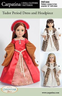 "Amazon.com: Pattern for Tudor Dress - fits 18"" American Girl Dolls: Toys & Games"