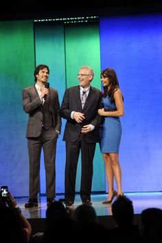 The CW Network's 2013 Upfront Presentation at New York City Center on Thursday, May 16, 2013 -- Pictured : Mark Pedowitz, President, The CW Network (center) with Ian Somerhalder and Nina Dobrev ('The Vampire Diaries') -- Photo: Jeff Staab/The CW – © 2013 The CW Network, LLC. All rights reserved.