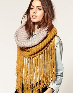 Knitted Fringe Snood - would be amazing crocheted... Inspiration.