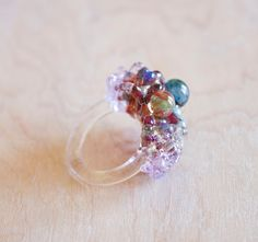 OOAK Multi Colored Glass Cluster Ring - Size 8