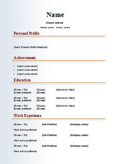 resume template sample get professional resume format