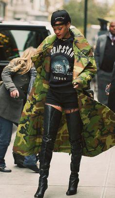 Rihanna X Trapstar London UK Clothing Line Dope Urban Fashion Style Trend Army Jacket Tshirt Knee High Boots Rihanna Outfits, Looks Rihanna, Rihanna Street Style, Dope Outfits, Rihanna Fashion, Rihanna Boots, Rihanna Clothes, Camo Fashion, Hip Hop Fashion