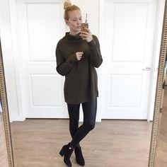 One of our gorgeous gals rocking this olive knit + leather legging combo  #madfaves #ootd