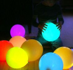 DIY glow Stick Balloons. Fun movie night activity with the family.