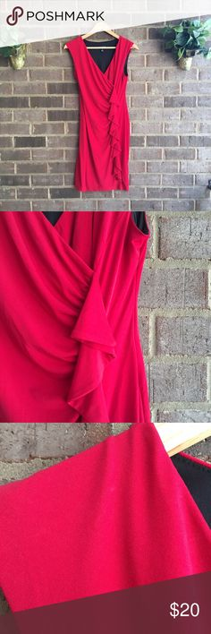 Enfocus Red Ruffled Party Dress The perfect party dress! This red En focus dress is perfect for dancing. The poly spandex blend is comfortable and has a bit of stretch. It is sure to be your go to dress. 30106 Enfocus Dresses Midi