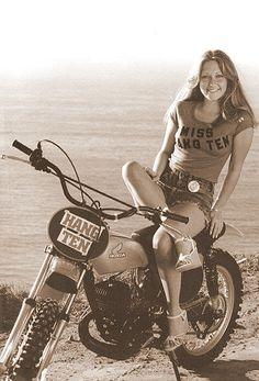Hang Ten - Vintage Honda Dirt Bike Babe!