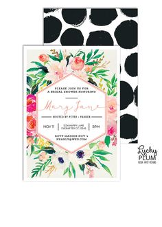 Flower Bridal Shower Invitation // Gorgeous bouquet of spring flowers adorn this bridal shower invite. Modern colorful watercolor floral juxtaposed against a hexagon frame and bold serif font. Paired with a hand painted black circle dot back side // by LuckyPlumStudio