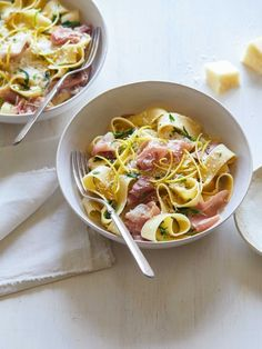 Pappardelle with Prosciutto, Arugula and Lemon http://www.spoonforkbacon.com/2017/07/pappardelle-with-prosciutto-arugula-and-lemon/