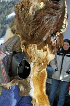 Tschaggatta roam the streets of Wilder, Switzerland creating mischief during Carnival celebration
