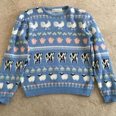 Funny farm animal sweater size small Funny farm animal sweater! Slight discoloration but in pretty good condition Touchy Subject Sweaters